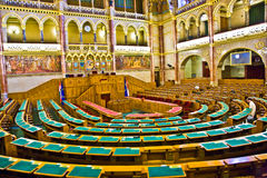 Het binnen Beroemde parlement van Hongarije zonder partijorganisatie Royalty-vrije Stock Afbeelding