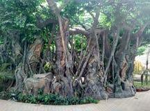 Het binnen kunstmatige tropische landschap Stock Afbeeldingen
