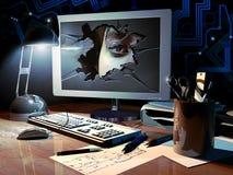 Het binnendringen in een beveiligd computersysteem Stock Afbeelding