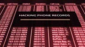 Het binnendringen in een beveiligd computersysteem in bibliotheek van telefoonverslagen in online gegevensbestand vector illustratie