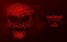 Het binnendringen in een beveiligd computersysteem systeem Abstracte, lichtgevende schedel van rode kleur van programmeringssymbo vector illustratie