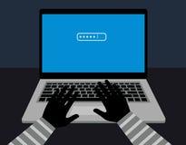 Het binnendringen in een beveiligd computersysteem wachtwoordbescherming de houweren van de wachtwoordhakker in de computer Secut Royalty-vrije Stock Foto's