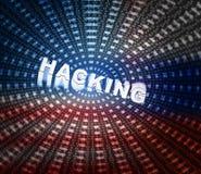 Het binnendringen in een beveiligd computersysteem Word op Gegevenstunnel is 3d Illustratie Stock Foto