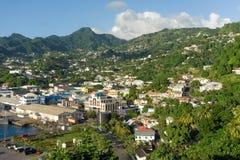 Het binnengaan kingstown van riettuin in de windwaartse eilanden Stock Fotografie