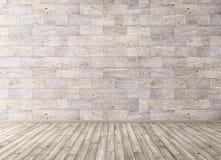 Het binnenland met steen betegelt muur en de houten 3d vloer geeft terug stock illustratie