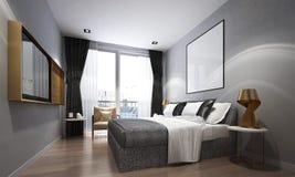Het binnenland ontwerpt idee van de slaapkamer van de luxeflat en grijze muurachtergrond Stock Afbeeldingen
