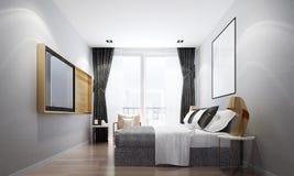 Het binnenland ontwerpt idee van luxe kleine slaapkamer en grijze muurachtergrond Stock Foto