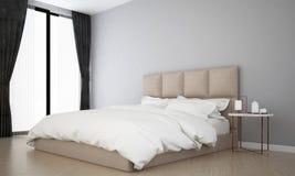 Het binnenland ontwerpt idee van luxeslaapkamer en grijze muurachtergrond Royalty-vrije Stock Afbeelding