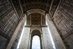 Het binnenland van Arc de Triomphe, in Parijs, Frankrijk stock afbeelding