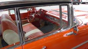 1957 het binnenland van Chevrolet Bel Air in Lima wordt geparkeerd dat Royalty-vrije Stock Fotografie