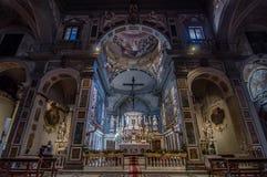 Het binnenland van Chiesa Di Ognissanti is een kerk in Florence Stock Afbeelding