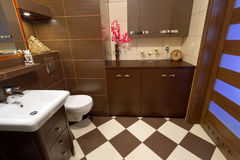 Het binnenland van de badkamers met bruine en beige tegels Stock Foto's