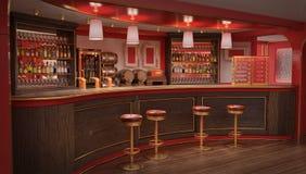 Het binnenland van de bar, het rek en de stoelen, de kabinetten met flessen en de vaten Royalty-vrije Stock Afbeelding