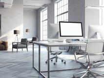 Het binnenland van de Coworkingszolder met moderne computers het 3d teruggeven vector illustratie