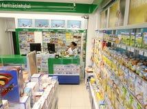 Het binnenland van de de winkeldrogisterij van de apotheek stock fotografie
