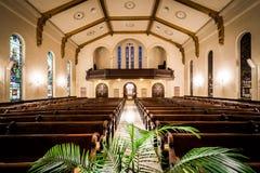 Het binnenland van de Drievuldigheid verenigde Kerk van Christus in York, Pen stock foto's