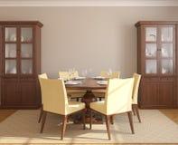 Het binnenland van de eetkamer. royalty-vrije illustratie