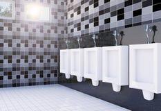 Het binnenland van de het toiletruimte van openbare mensen met witte urinoirsrij op tegelsmuur en vloer Stock Foto's