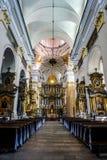 Het Binnenland van de de Jezuïetkathedraal van Grodno stock foto