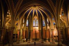 Het Binnenland van de Kapel van La sainte-Chapelle Stock Afbeeldingen