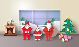 Het binnenland van de Kerstmisruimte met de Kerstman, spar, stelt origami, en open haard, vectorillustratiedocument kunst 3D stij royalty-vrije illustratie