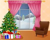Het binnenland van de Kerstmiswoonkamer met Kerstmisboom, stelt en bank voor Royalty-vrije Stock Foto