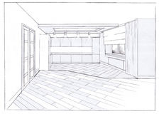 Het binnenland van de keuken stock foto