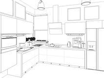 Het binnenland van de keuken 3D illustratie, geeft terug Royalty-vrije Stock Foto