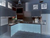Het binnenland van de keuken 3D illustratie, geeft terug Stock Afbeeldingen