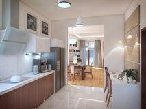 Het binnenland van de keuken 3D illustratie, geeft terug Royalty-vrije Stock Afbeelding