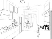 Het binnenland van de keuken 3D illustratie, geeft terug Stock Foto