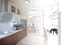 Het binnenland van de keuken 3D illustratie, geeft terug Royalty-vrije Stock Foto's