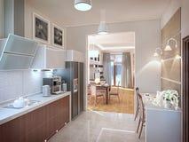 Het binnenland van de keuken 3D illustratie, geeft terug Stock Fotografie