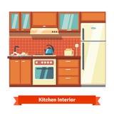 Het binnenland van de keukenmuur Stock Fotografie