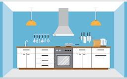 Het binnenland van de keukenmuur Stock Foto's