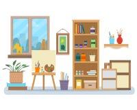 Het binnenland van de kunststudio vector illustratie