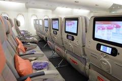 Het binnenland van de Luchtbusa380 vliegtuigen van emiraten Royalty-vrije Stock Foto's