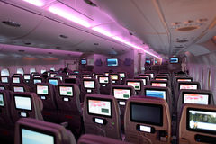 Het binnenland van de Luchtbusa380 vliegtuigen van emiraten Stock Fotografie