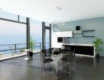 Het binnenland van de luxekeuken met modern meubilair stock illustratie