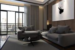 Het binnenland van de luxewoonkamer met terras Stock Afbeeldingen