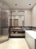 Het binnenland van de Minimalismbadkamers Stock Fotografie