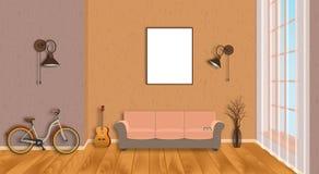 Het binnenland van de modelwoonkamer met leeg kader, fiets, gitaar, houten bevloering en venster Het concept van het zolderontwer Royalty-vrije Stock Afbeelding