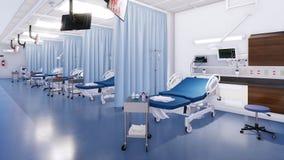 Het binnenland van de noodsituatieruimte met lege het ziekenhuisbedden stock foto