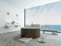 Het binnenland van de ontwerpbadkamers met moderne ronde houten badkuip Royalty-vrije Stock Foto's