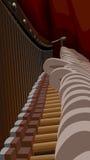 Het binnenland van de piano met koorden en hamers. Stock Foto's