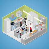 Het binnenland van de restaurantkeuken Chef-kok Cooking Food Isometrische vlakke 3d illustratie Vector Illustratie