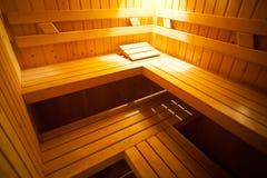 Het binnenland van de sauna Stock Foto's
