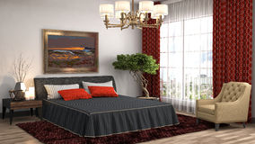 Het Binnenland van de slaapkamer 3D Illustratie Royalty-vrije Stock Afbeeldingen