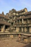 Het binnenland van de tempel van Angkor Wat, Siem oogst, Kambodja Stock Foto