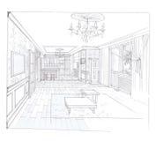 Het binnenland van de woonkamer Stock Afbeelding